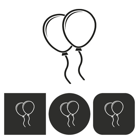 Balloon - black and white icons. Vector illustration. Vetores