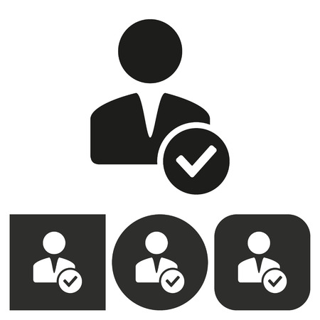 account: Account - black and white icons. Vector illustration. Illustration
