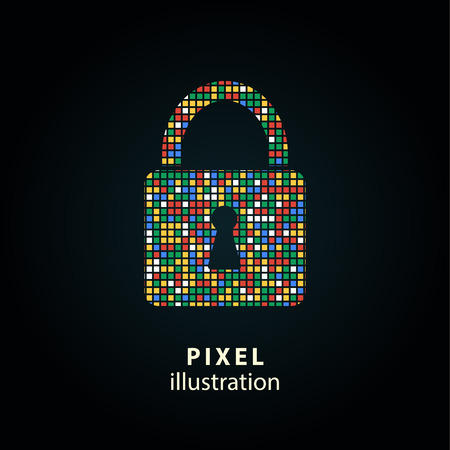 secure icon: Lock - pixel icon. Vector Illustration. Design logo element. Isolated on black background. It is easy to change to any color. Illustration