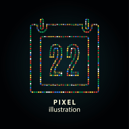 end of the days: Calendar - pixel icon. Vector Illustration.