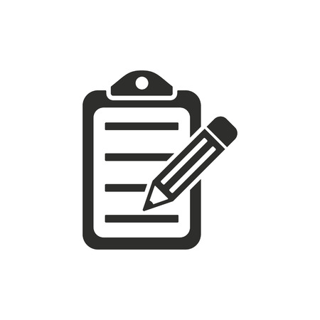 Clipboard pencil vector icon. Black illustration isolated on white background for graphic and web design. Vettoriali