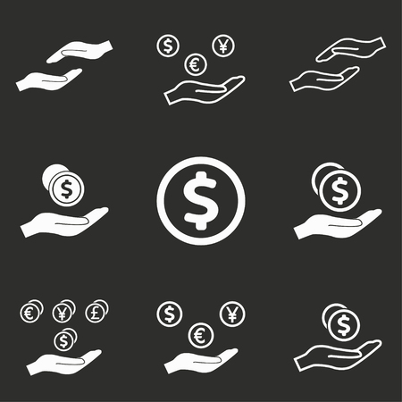 salary: Salary vector icons set. White illustration isolated on black background for graphic and web design.
