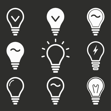 Lamp vector icons set. White illustration isolated on black background for graphic and web design. Illustration