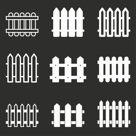bucolic: Fence vector icons set. White illustration isolated on black background for graphic and web design.