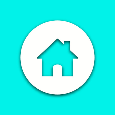 Home vector icon with shadow. Illustration isolated for graphic and web design.