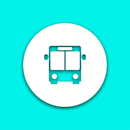 Bus vector icon with shadow. Illustration isolated for graphic and web design. Illustration