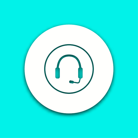hear business call: Headphone vector icon with shadow. Illustration isolated for graphic and web design.