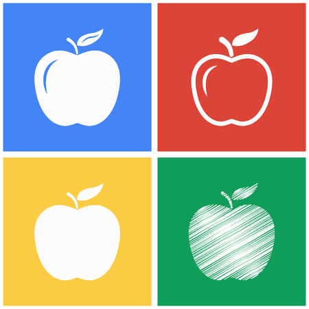 ripened: Apple vector icons set. White illustration isolated for graphic and web design.