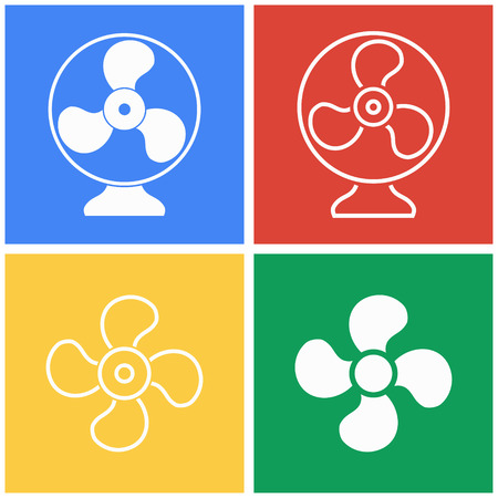 aeration: Fan vector icons set. White illustration isolated for graphic and web design. Illustration