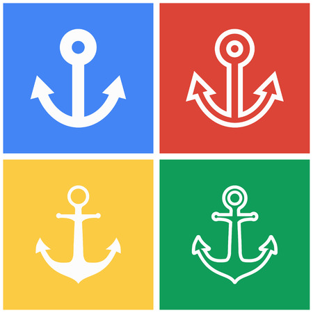 navy pier: Anchor vector icons set. White illustration isolated for graphic and web design.
