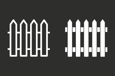 dissociation: Fence vector icon. White illustration isolated on black background for graphic and web design.