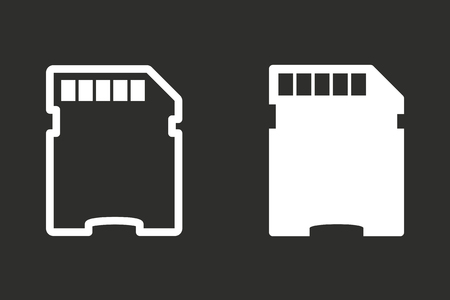 memory card: Memory card vector icon. White illustration isolated on black background for graphic and web design. Illustration