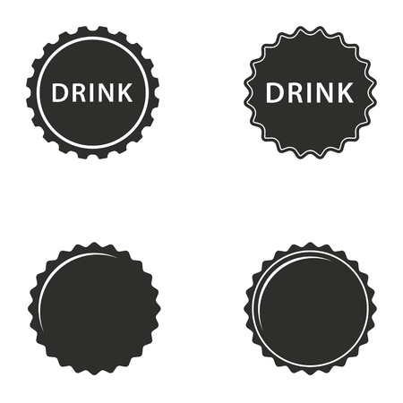 Bottle cap vector icons set. Illustration isolated for graphic and web design. Çizim