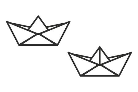 bateau de papier vecteur icône. Noir illustration isolé sur fond blanc pour la conception graphique et web.