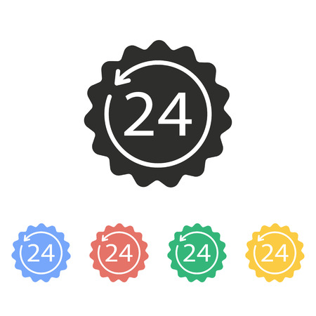 24 hour service vector icon. Illustration isolated on white background for graphic and web design.