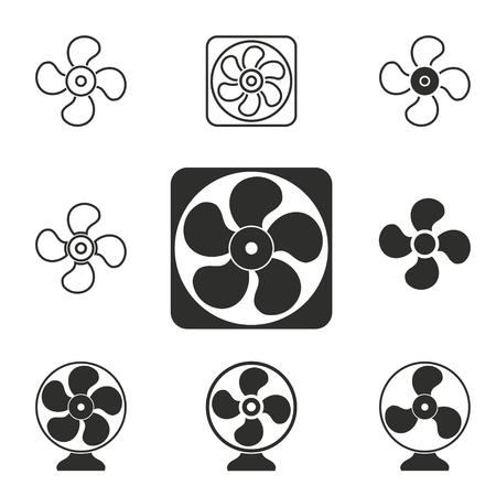 venting: Fan vector icons set. Illustration isolated for graphic and web design.
