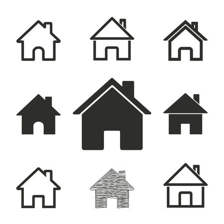 abode: Home vector icons set. Illustration isolated for graphic and web design.