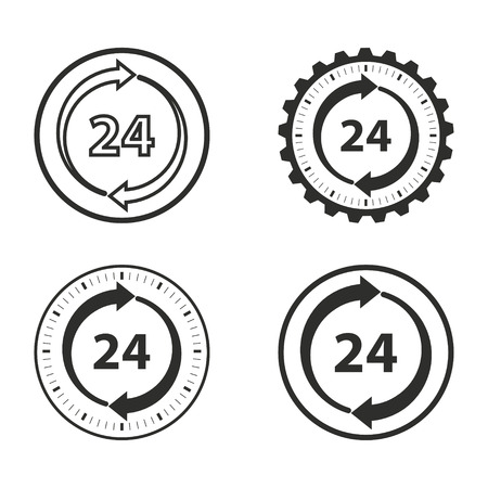 around the clock: 24 hour service vector icons set. Illustration isolated for graphic and web design.