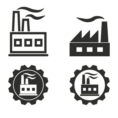chemical industry: Factory vector icons set. Illustration isolated for graphic and web design.