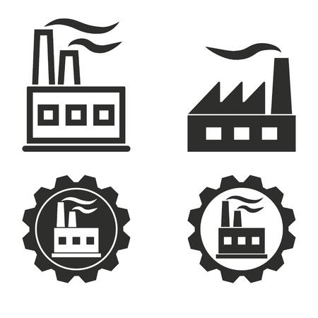 industria quimica: iconos conjunto de vectores de fábrica. Ilustración para el diseño gráfico y web.