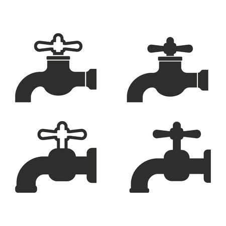 ooze: Faucet vector icons set. Illustration isolated for graphic and web design.