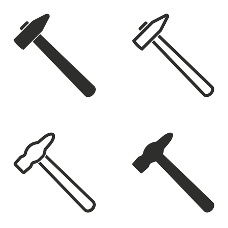 Hammer vector icons set. Illustration isolated for graphic and web design.