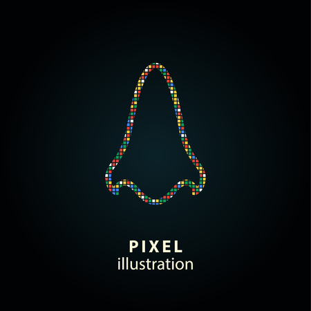 Nose - pixel icon. Vector Illustration. Design  element. Isolated on black background. It is easy to change to any color.
