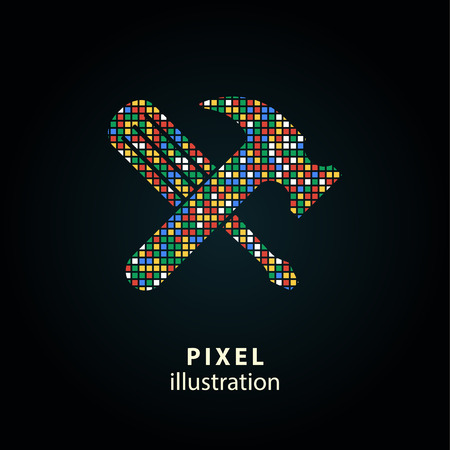 adjustment: Tool - pixel icon. Vector Illustration. Design  element. Isolated on black background. It is easy to change to any color.