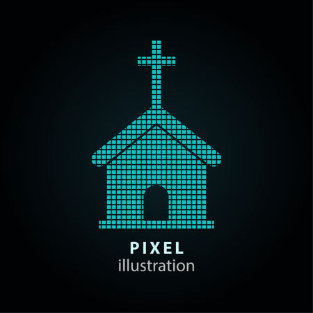 Church - pixel icon. Vector Illustration. Design  element. Isolated on black background. It is easy to change to any color. Illustration