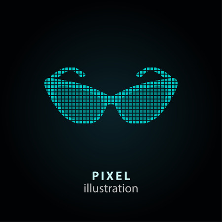 aviators: Sunglasses - pixel icon. Vector Illustration. Design  element. Isolated on black background. It is easy to change to any color. Illustration