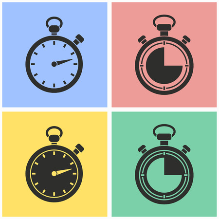 Stopwatch vector icons set. Illustration isolated for graphic and web design. Vettoriali