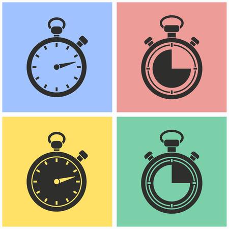 Set di icone vettoriali cronometro. Illustrazione isolato per grafica e web design. Vettoriali