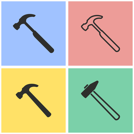 tooling: Hammer vector icons set. Illustration isolated for graphic and web design.
