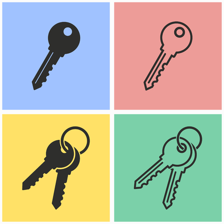Key vector icons set. Illustration isolated for graphic and web design.