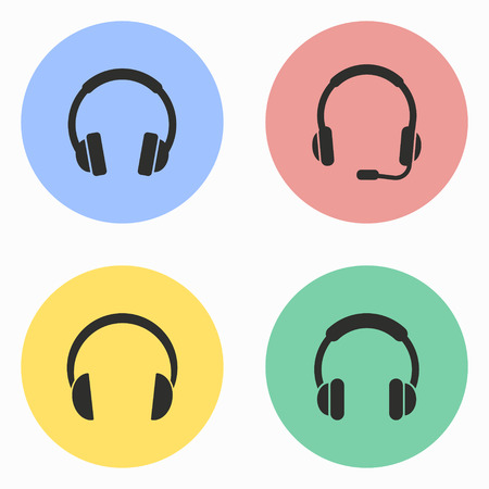hear business call: Headphone vector icons set. Illustration isolated for graphic and web design. Illustration