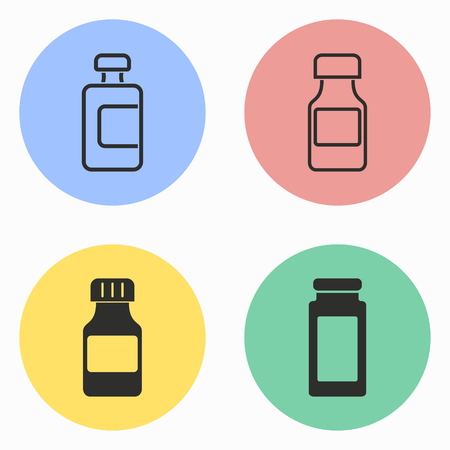 a substance vial: Medicine bottle vector icons set. Illustration isolated for graphic and web design.