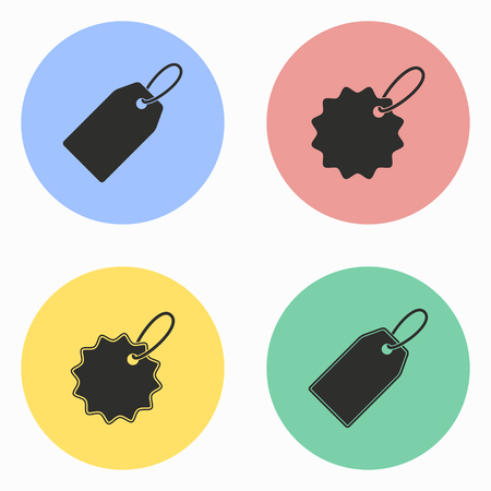 pricing: Price tag vector icons set. Illustration isolated for graphic and web design.