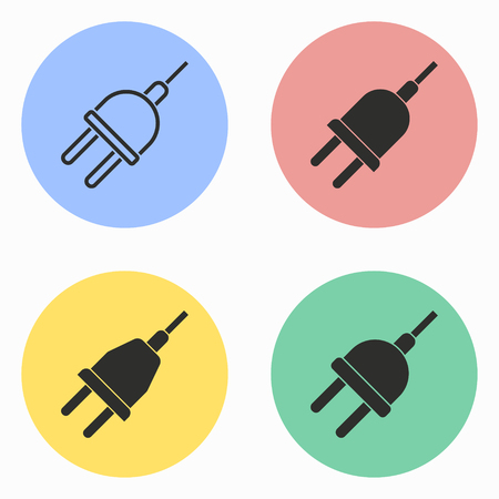 voltage sign: Plug vector icons set. Illustration isolated for graphic and web design.