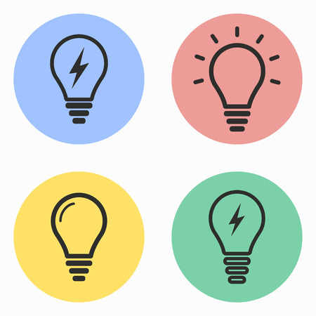 invent clever: Lamp vector icons set. Illustration isolated for graphic and web design.