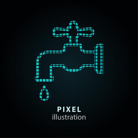 ooze: Faucet - pixel icon. Vector Illustration. Illustration
