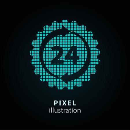 24 hour service - pixel icon. Vector Illustration Illustration