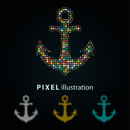 Anchor - pixel icon. Vector Illustration.