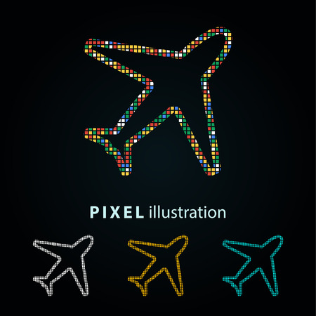 Airplane - pixel icon. Vector Illustration.