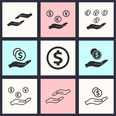 salary: Salary vector icons set. Illustration isolated for graphic and web design.