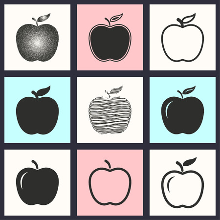 ripened: Apple vector icons set. Illustration isolated for graphic and web design. Illustration