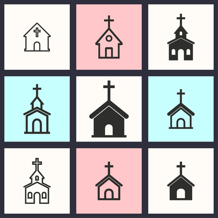 reverse: Church vector icons set. Illustration isolated for graphic and web design.