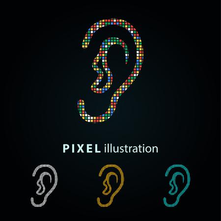 Ear - pixel icône. Vector Illustration. Conception élément de logo. Isolé sur fond noir. Il est facile de changer à toute couleur. Banque d'images - 69647105