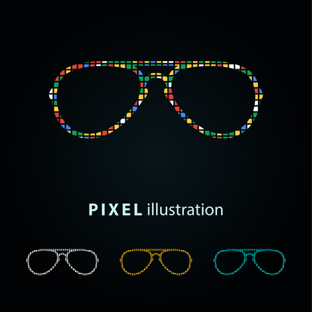 Glasses - pixel icon. Vector Illustration. Design logo element. Isolated on black background. It is easy to change to any color.