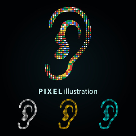 Ear - pixel icon. Vector Illustration. Design logo element. Isolated on black background. It is easy to change to any color.