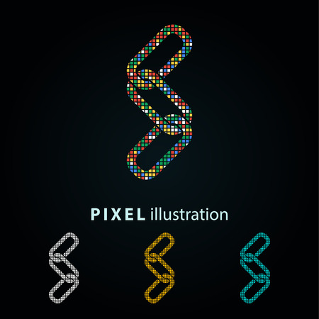 Link - pixel icon. Vector Illustration. Design logo element. Isolated on black background. It is easy to change to any color.